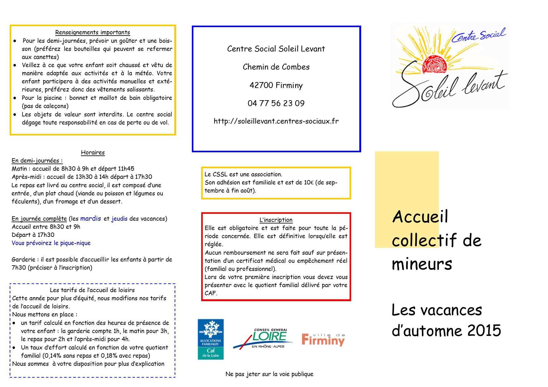 Programme des vacances d automne centre social soleil levant Vacances automne 2015
